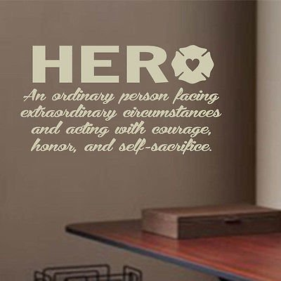 Vinyl Wall Lettering Firefighter Hero Definition Quote Firehouse Decals Sticker