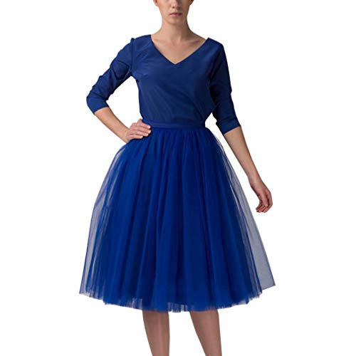 - WDPL Adult A-line Tulle Skirt Bridesmaid Petticoat Tutu for Women (X-Small, Royal Blue)