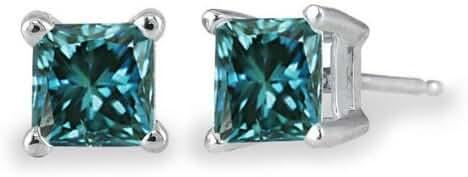 PARIKHS Princess cut Blue Diamond Stud (IGI Certified 0.70ct & up) AAA Quality, 0.04 ct - 2.00 ct