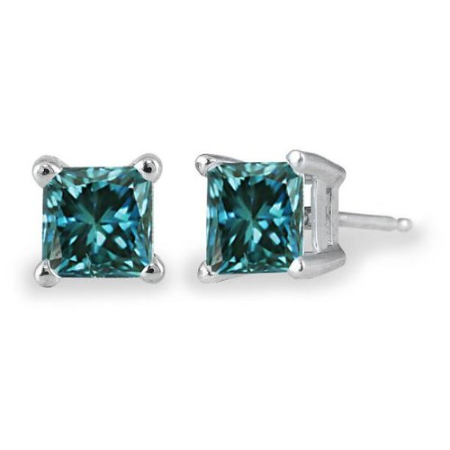 PARIKHS Princess cut Blue Diamond Stud AAA Quality in White Gold (0.04ct) (Ct 0.04 Diamond Fashion)