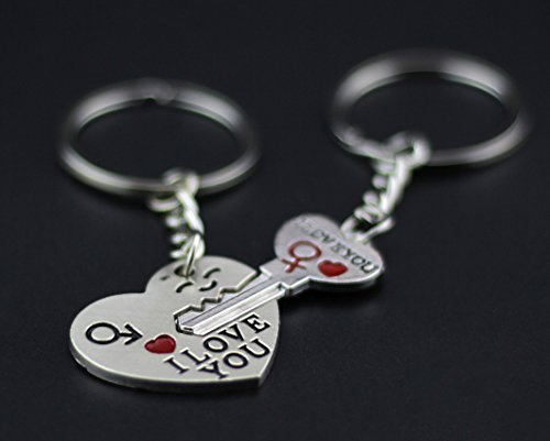 BeeChamp Cute Couple Love Keychain Ring Charms I Love You Key to My Heart Arrow Two Halves of a Heart Key Chain Set (Key to my heart) (Valentimes Gifts)