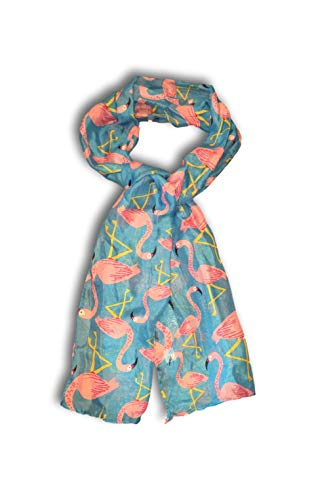 Summer Scarf Women's Fashion Scarves - Cactus, Pineapple, Palm Trees, Nautical Anchors, Smart Cat & Flamingo Designs (Pink Flamingo) ()