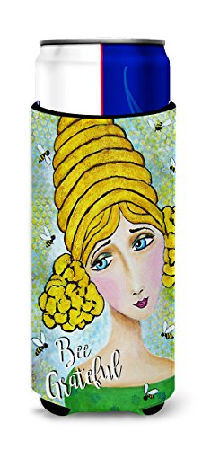 Caroline's Treasures VHA3008MUK Bee Grateful Girl With Beehive Michelob Ultra Koozies For Slim Cans, Multicolor