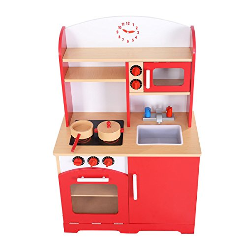 New goplus wood kitchen toy kids cooking pretend play set for Kitchen set game