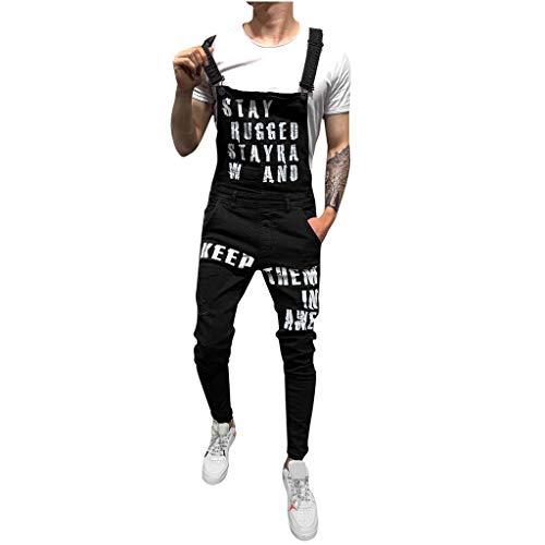 Overalls Shorts for Men,2019 New Summer Retro Letter Denim Button Jumpsuit Bib S-XXXL (XL, Black3)