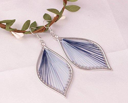 LittleB Beach ornaments Handmade Silk Alloy Leaves Earrings for Women and Girls. (Blue)