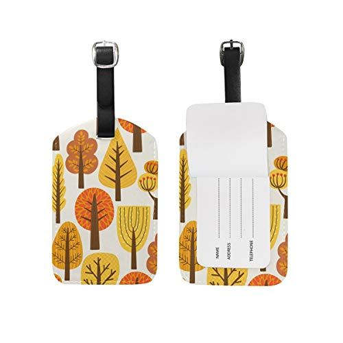 Koperororo Luggage Tag Suitcase Label Travel Baggage Tags Autumn Fall Trees Thanksgiving Day Halloween Set Of 2 ()