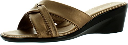 Damianis Womens 184 Criss Cross Strap Made In Italy Sleehak Mode Sandalen Brons