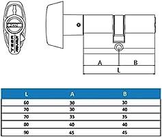 Tesa Assa Abloy, TX8B3030L,Cilindro TX80 de Alta seguridad, Leva larga, Botón, Latonado, 30x30mm
