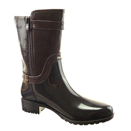 Sopily - Scarpe da Moda Stivaletti - Scarponcini Stivali - Scarponi stivali  pioggia donna pelle di ... a0bbc3b331c