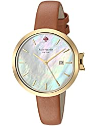 kate spade new york Womens Park Row Quartz Stainless Steel and Leather Casual Watch, Color:Brown (Model: KSW1324)