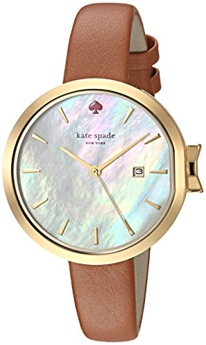 kate spade new york Women's 'Park Row' Quartz Stainless Steel and Leather Casual Watch, Color:Brown (Model: KSW1324)