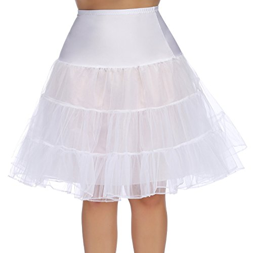 - Hanna Nikole Knee Length Net Petticoat Voile Crinoline Underskirt for Vintage Dress 24W White