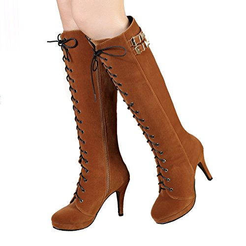 getmorebeauty Womens Suede Buckle Rock Lace Up Zipped Knee High Boots High Heel Boots (9 B(M) US, - Suede Knee Boots Brown