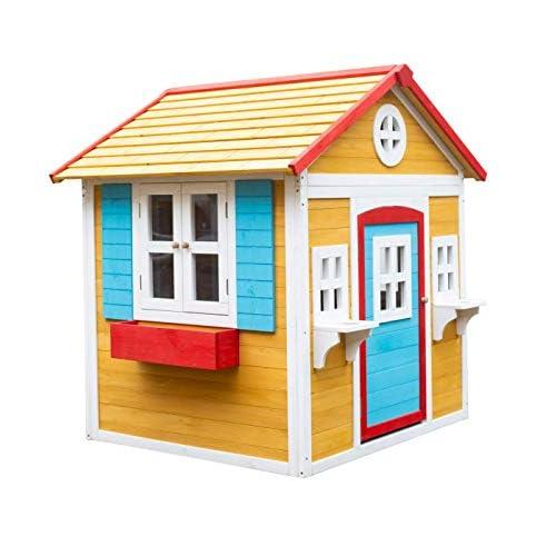 41bHOTz5B L. SS500 La casita Visby es una preciosa casita con unos colores que a los niños les encantará. Son colores muy cálidos y agradables que harán de esta casita un lugar del que no salir. La casita Visby es de un tamaño compacto, apta para cualquier jardín o patio particular. La casita Visby tiene muchos detalles que darán vida a esta casa. Desde sus ventanas fijas y practicables hasta los maceteros o incluso una chimenea en su interior! La casita Visby parece una casa de madera de verdad, un auténtico refugio donde sus sueños se harán realidad. La casita Visby está fabricada de madera de pino y está tratada para ser instalada al exterior. El montaje de la casita es fácil y te llevará poco tiempo. En unos minutos tendrás la casita Visby montada y lista para instalar en cualquier espacio de tu jardín y a punto para que jueguen con ella durante horas y horas.