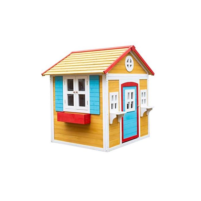 41bHOTz5B L La casita Visby es una preciosa casita con unos colores que a los niños les encantará. Son colores muy cálidos y agradables que harán de esta casita un lugar del que no salir. La casita Visby es de un tamaño compacto, apta para cualquier jardín o patio particular. La casita Visby tiene muchos detalles que darán vida a esta casa. Desde sus ventanas fijas y practicables hasta los maceteros o incluso una chimenea en su interior! La casita Visby parece una casa de madera de verdad, un auténtico refugio donde sus sueños se harán realidad. La casita Visby está fabricada de madera de pino y está tratada para ser instalada al exterior. El montaje de la casita es fácil y te llevará poco tiempo. En unos minutos tendrás la casita Visby montada y lista para instalar en cualquier espacio de tu jardín y a punto para que jueguen con ella durante horas y horas.