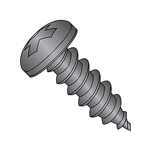 Steel Sheet Metal Screw, Black Zinc Plated Finish, Pan Head, Phillips Drive, Type AB, #4-24 Thread Size, 3/8