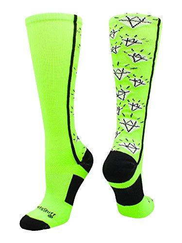 Crazy Green (MadSportsStuff Crazy Socks with Diamonds Over The Calf (Neon Green/Black, Small))