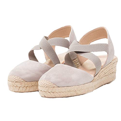 Nailyhome Womens Espadrilles Platform Wedge Sandals Elastic Crisscross Strappy Closed Toe Mid Heel Sandals Taupe