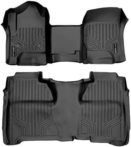 MAXLINER Floor Mats 2 Row Liner Set Black for Crew Cab 2014-2018 Silverado/Sierra 1500 – 2015-2019 2500/3500 HD