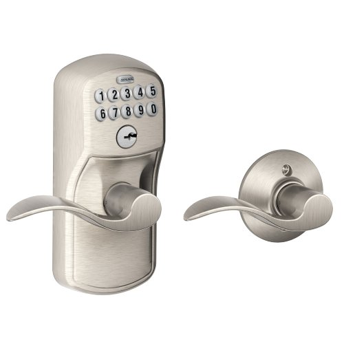 Schlage FE575 PLY 619 Acc Plymouth Keypad Entry with Auto-Lock and Accent Levers, Satin Nickel