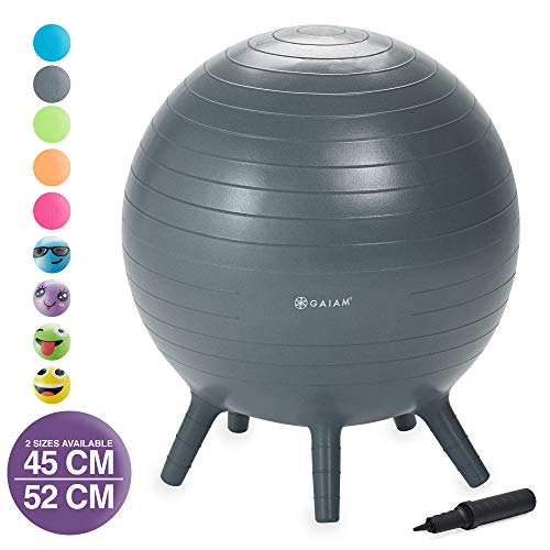 Gaiam Kids Stay-N-Play Children's Balance Ball - Flexible School Chair Active Classroom Desk Alternative Seating | Built-In Stay-Put Soft Stability Legs, Includes Air Pump, 52cm, Grey