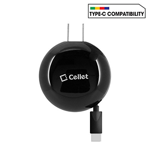 Cellet Type C Wall Charger for Samsung Galaxy S8/S8 Plus, Google Pixel XL, LG V20, LG G5, HTC 10, Nexus 6P/5X and All Other Type-C Smartphones, Tablets, etc. – Retractable- Powerful 3A 15W