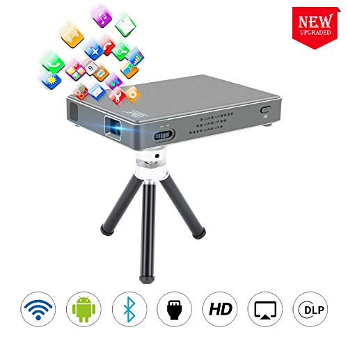 PTVDISPLAY Mini Projector, Pico Pocket 1080P Bluetooth Projector for iPhone and Smartphpone, Wireless Display Portable Video WiFi DLP Projectors Full HD Support Android 7.1 System HDMI USB TF Card