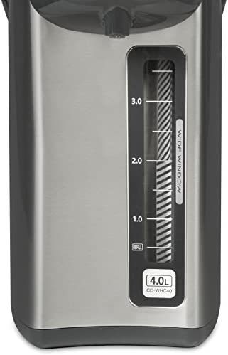 41bHPl8hzzL. AC Zojirushi CD-WHC40XH Micom Water Boiler & Warmer, 135 oz, Stainless Gray    Zojirushi Micom water boiler and warmer has a micro computerized temperature control system and a one-touch electric dispensing system. It has four keep warm temperature settings: 160, 175, 195, 208 degrees F. This unit displays actual water temperature at all times. It also has an energy saving timer function (6 - 10 hours) and easy-to-hear sound indicator to alert completion of boiling process or low water level. Quick temp mode heats the water directly to the selected keep warm temperature without reaching a boil. The water will reach the selected keep warm temperature quicker than regular mode. Other benefits include a swivel base for serving convenience and a detachable lid. The clear coated stainless steel body and new rust resistant stainless steel interior is easy-to-clean and all surfaces that come into contact with food or beverage is BPA-Free.