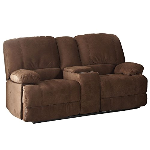 ac pacific kevin collection upholstered reclining loveseat with storage console and cup holders brown
