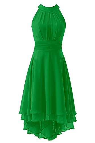 Kevins Bridal Women's High Low Short Bridesmaid Dresses Chiffon Halter Prom Dress Lime Green Size 18W