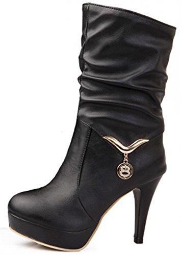 Women's Round Toe Platform Shoes Fashion Party High Heels Black - 2