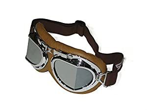 CRG Sports Vintage Aviator Pilot Style Motorcycle Cruiser Scooter Goggle T08 T08SSN Silver lens, silver frame, brown padding by CRG Sports