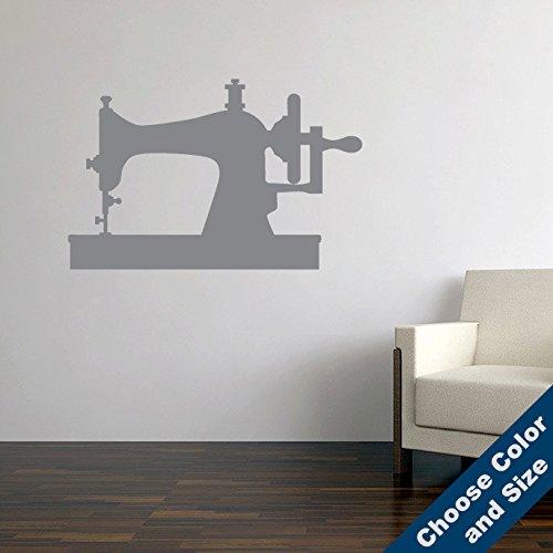 Vintage Sewing Machine Wall Decal, Sticker, White 24x15.5