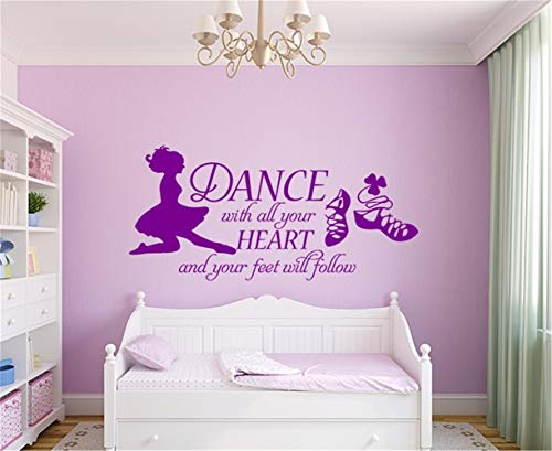 Omaamc DIY Removable Vinyl Decal Mural Letter Wall Sticker Dance with All Your Heart Irish Dance for Dance Room Girls Room