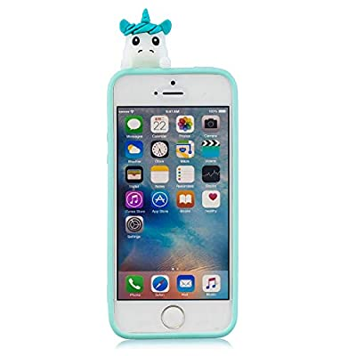 Cute Painted Cartoon Case for iPhone SE,Soft Silicone Case for iPhone 5/5S,Moiky Funny 3D Love Unicorn Cartoon Animals Pattern Design Ultra Thin TPU Rubber Shockproof Protective Case: Musical Instruments