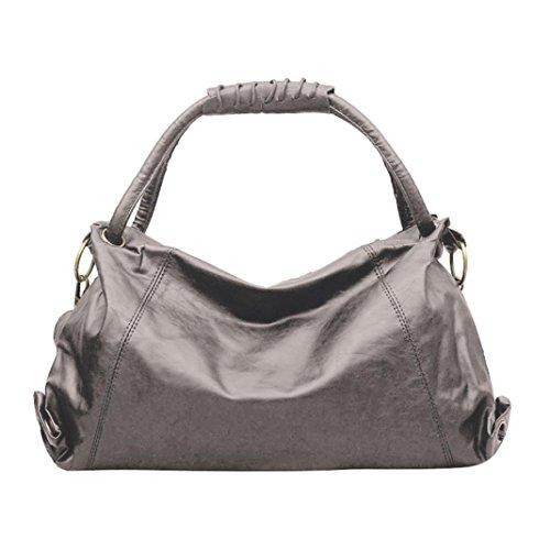YJYDADA Women Girl Fashion Leather Hobos Bag Handbag Shoulder Bags (Gray) from YJYDADA