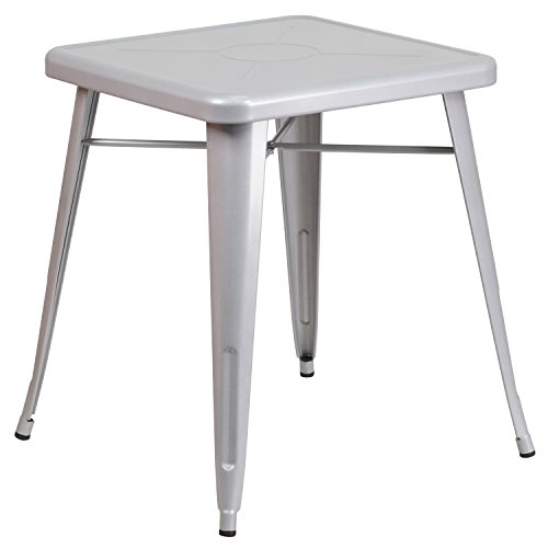 Flash Furniture 23.75'' Square Silver Metal Indoor-Outdoor Table (Super Discount Furniture)