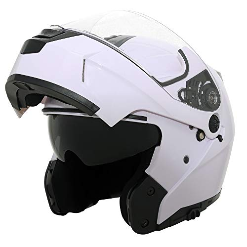 Traiangle Motorcycle Helmets Modular Dual Visor Flip Up (Medium, Glossy White)