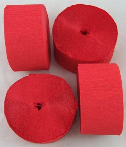 4 Rotoli di carta crespa gigante rossa, 45mm x26m, per decorazioni, marketing, scuola, artigianato clikkabox C58R