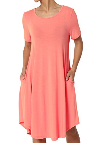rt Sleeve Trapeze Knit Pocket T-Shirt Dress Coral M ()