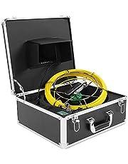 Cámara de Inspección de Tuberías, Cámara de Endoscopio Industrial Monitor de 7 Pulgadas IP68 Sistema de Video de Inspección de Tuberías de Doble Lente Impermeable con Cable de 30 Metros(US)