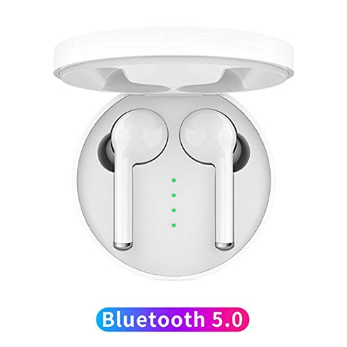 HonkTai Bluetooth Headset TW40 Wireless Earbuds Noise Cancelling Stereo Bluetooth 5.0 Headphones Built in Mic Headset Sports in Ear Headphones White