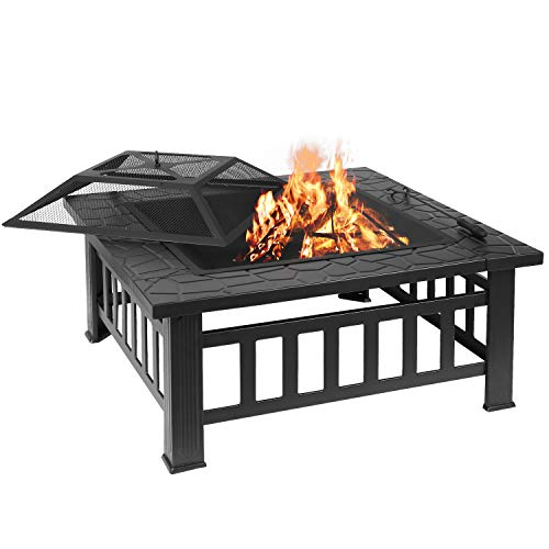 femor 32 Fire Pit Table Outdoor, Multifunctional Patio Backyard Garden Fireplace Heater/BBQ/Ice Pit, Square Stove with Barbecue Grill Shelf and Waterproof Cover