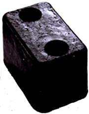 "Durable Corporation Rubber Molded Trailer Bumper, Rectangular, 2 Holes, 5-3/4"" Length, 3-5/8"" Width, 3-1/2"" Depth"