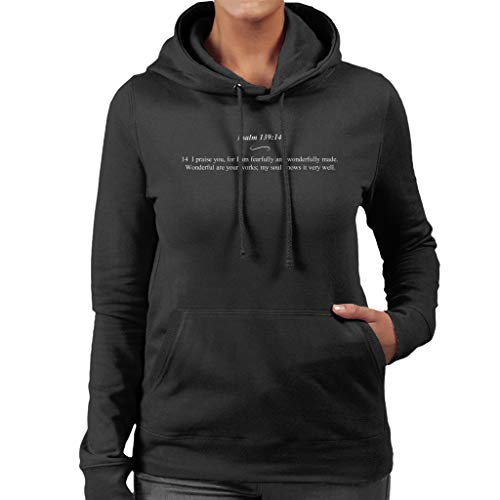 Sweatshirt Religious Wonderfully And Black Made Quotes Fearfully Women's Hooded xvqwzUACv