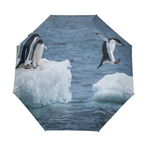 Harajuku Style Happy Penguin Ice Floe Ocean Windproof Automatic Open and Close Folding Umbrella, Unbreakable Portable Outdoor Travel Compact Umbrella with UV - Penguin Ice Floe
