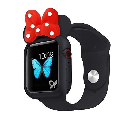 Cute Cartoon Soft Silicone Protective Frame Anti-Scratch Cover| Case Disney Character Minnie Mouse Ears Compatible with Apple Watch Series 4 and Series 3 (Black - Red, 42mm or 44mm)