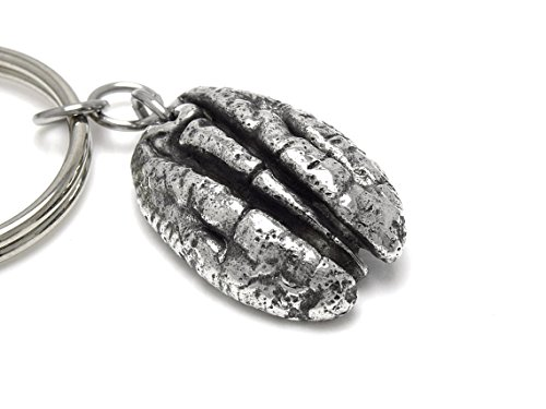 Chain Pecan (Handmade Pecan Keychain in Pewter)