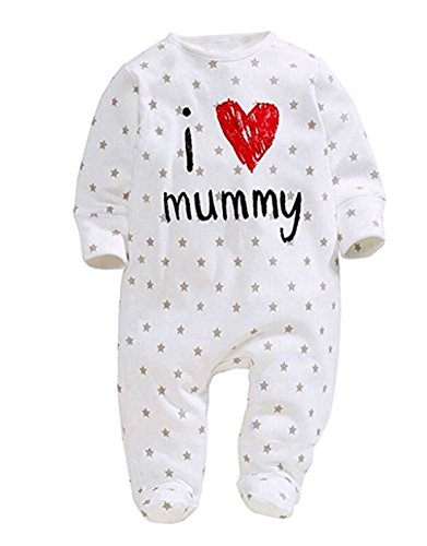 Newborn Baby Pure Cotton Long Sleeve Romper I Love Mommy Daddy Footed Jumpsuit (0-6 Months, Mother Print)